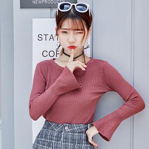 实拍秋装女装修身显瘦一字领喇叭袖钉珠冰丝针织衫七分袖毛衣打底