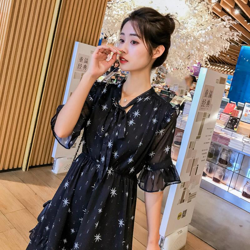 2019夏季新款155小个子连衣裙短款黑色小清新星星印花雪纺小黑裙128.00元包邮