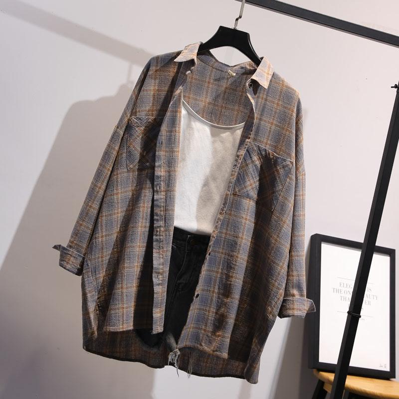 2020カジュアル格子の外にブラウスをかける女性春秋韓版のゆったりとした上着の長袖の中で大人サイズのポロシャツ