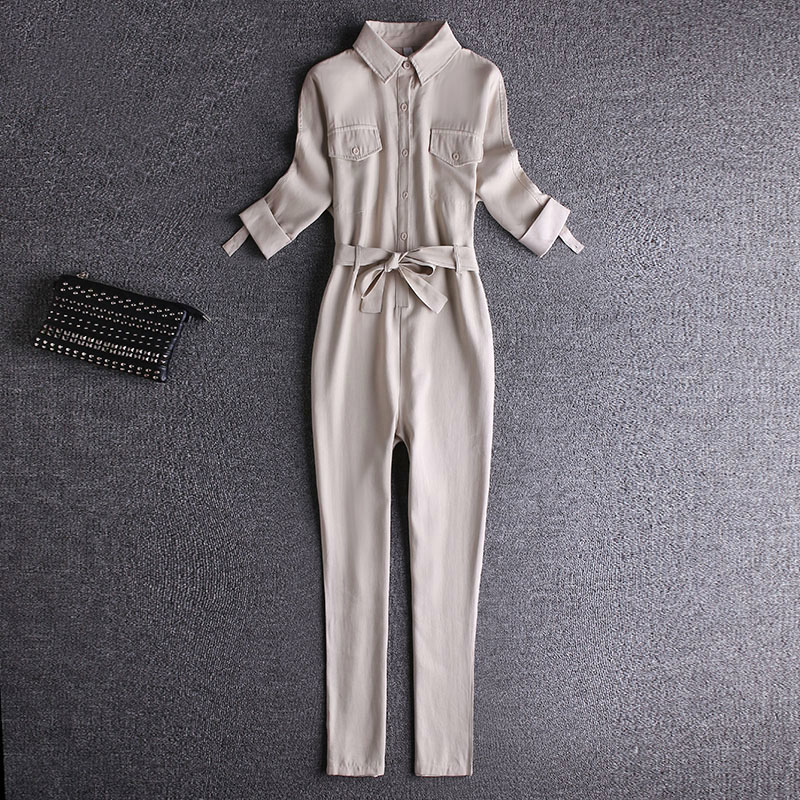 2021 spring and autumn new loose Korean Short Sleeve Jumpsuit womens fashion waist closing work suit BF Jumpsuit