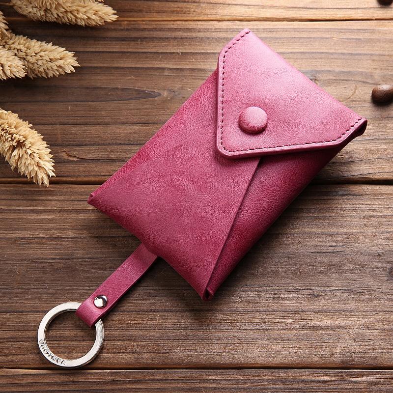 汽车钥匙包女韩国创意小真皮牛皮潮多功能迷你可爱个性抽拉钥匙扣