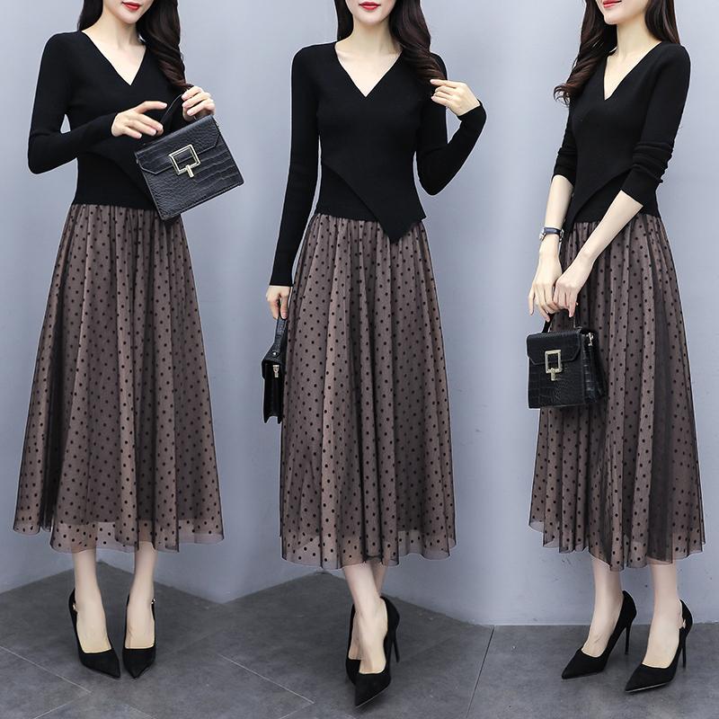 连衣裙女装2020年春秋季新款韩版长袖中长款过膝收腰显瘦气质长裙