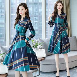 长袖格子连衣裙中长款2020春季女装新款气质收腰修身显瘦复古长裙