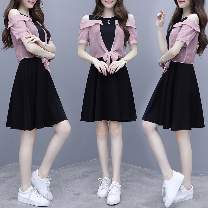 11月30日最新优惠假两件流行拼接收腰2019新款连衣裙