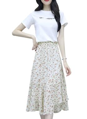 雪纺连衣裙套装女夏季2021年新款时尚显瘦流行气质碎花裙子两件套