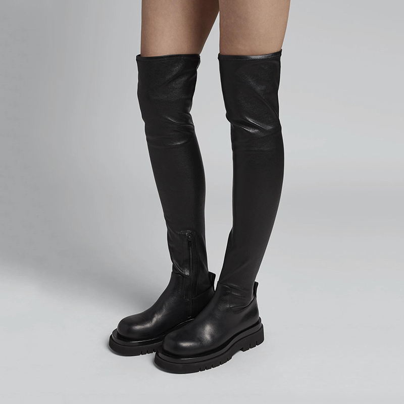 Long boots womens flat bottomed over knee high boots leather thick bottomed muffin super long elastic boots thin boots boots European station