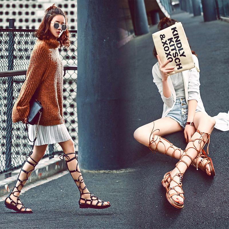长筒凉鞋女平底交叉绑带镂空2019夏季新款高筒凉靴网红度假罗马鞋