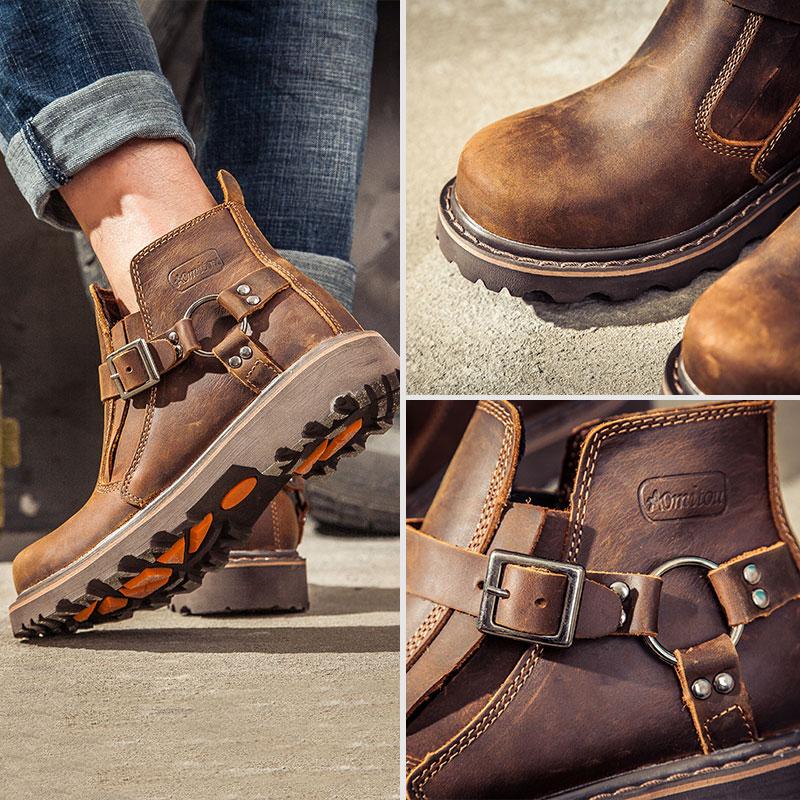 メーカー直売レトロマーティンブーツ本革イギリス風工具靴高?レジャー男性靴加絨ショートブーツ