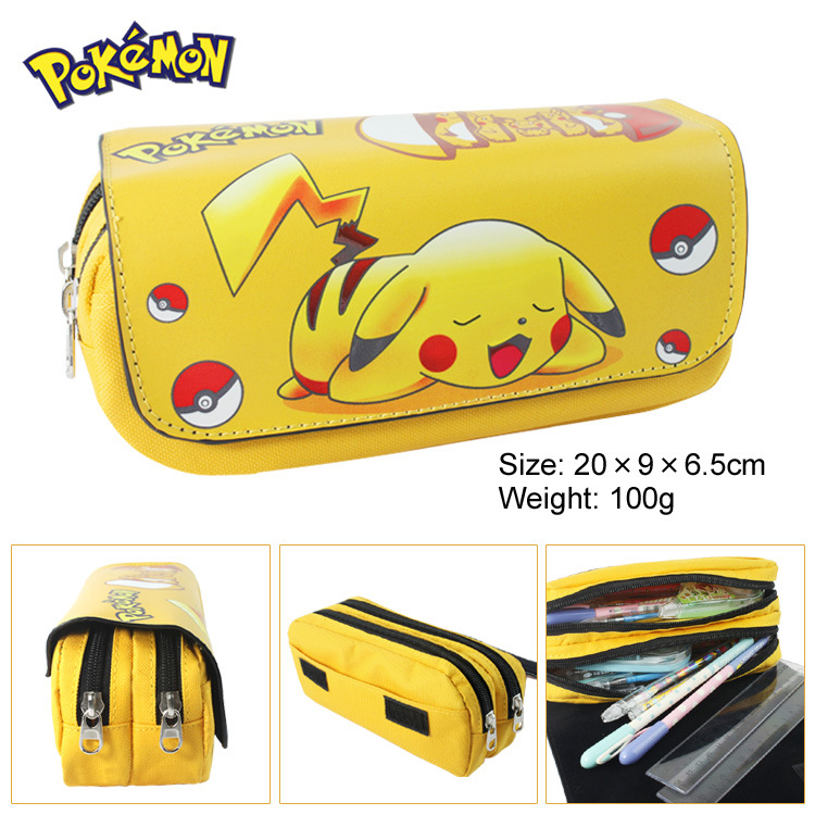 Pet elf picachu pencil bag wallet anime large capacity double zipper pencil bag wallet stationery bag