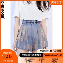 ONE MORE21夏新款宽松短裤女高腰显瘦阔腿裤短裤女花苞短裤女