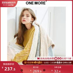 【新品上新】ONE MORE 2019秋季新款蕾丝拼接针织衫法式毛衣女士
