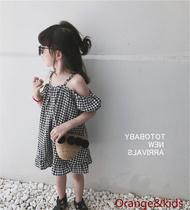 露肩儿童夏装裙子一字肩2020新款女宝宝洋气公主吊带女童连衣裙潮