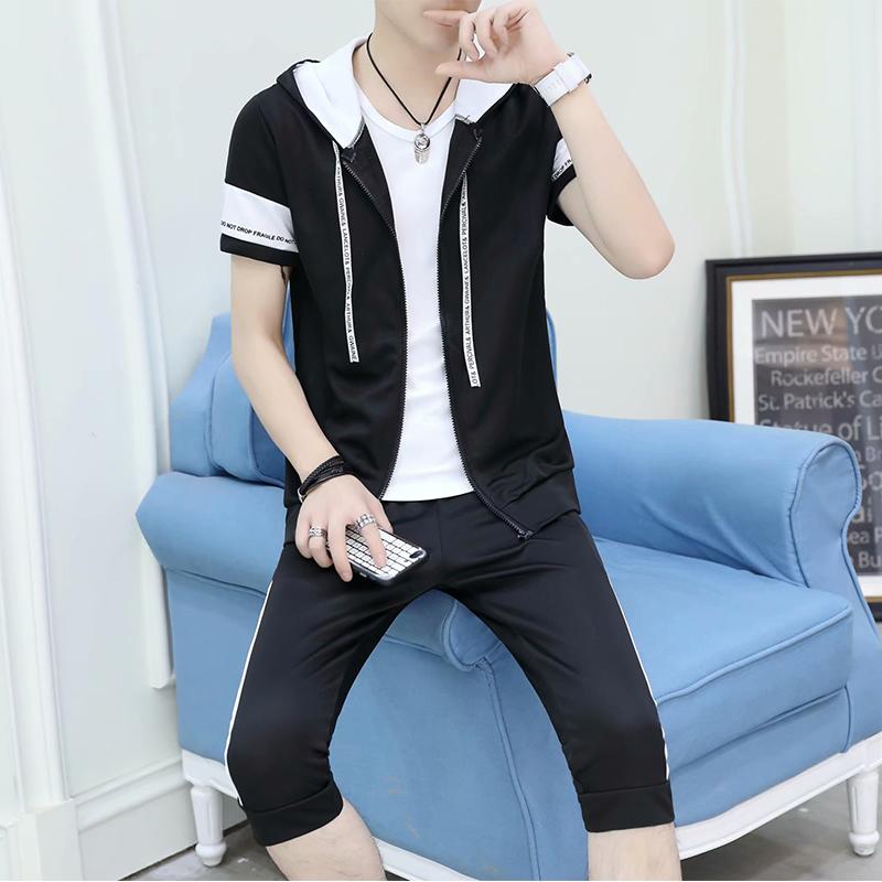 2018夏季新款男士休闲运动套装韩版修身七分裤套装纯棉短袖T恤潮
