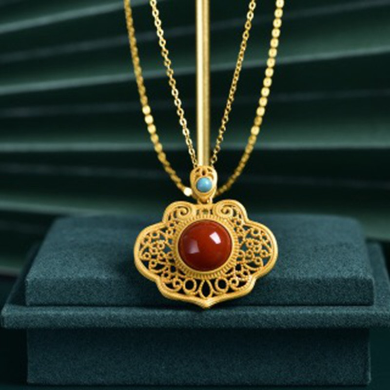 Retro palace S925 pure silver plated ancient gold inlaid with Ruyi South Red Agate female Necklace Pendant clavicle chain belt certificate