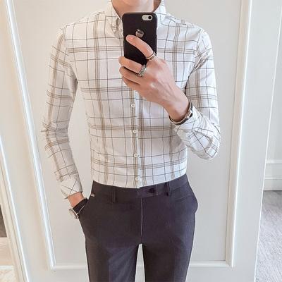 2018春秋新品 男士韩版修身格子长袖衬衫 CS67/P55