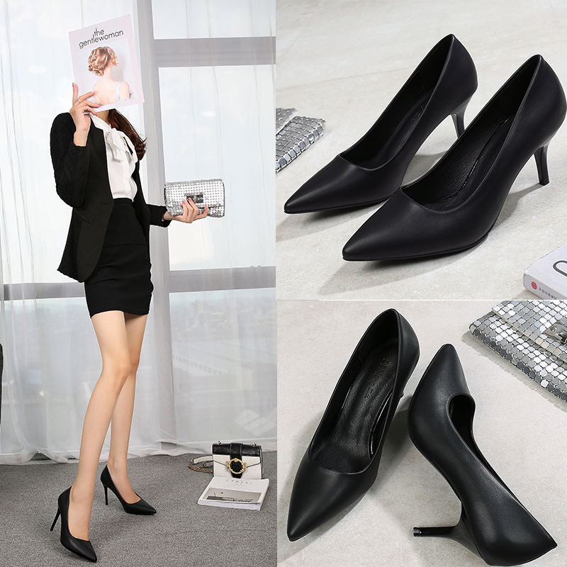 Black high heels womens autumn and winter ol formal work shoes pointy thin heels Sexy Professional Womens temperament versatile soft soled shoes