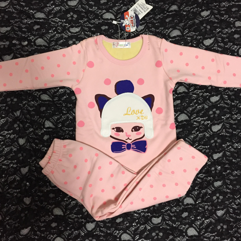小袋鼠希瑞儿童保暖内衣套装女童纯棉羊胎绒加绒加厚家居服1-10岁