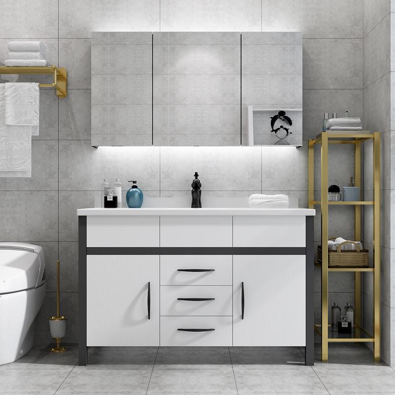 智能浴室柜组合落地式洗脸洗手池实木洗漱台盆卫生间北欧宜家风格手慢无