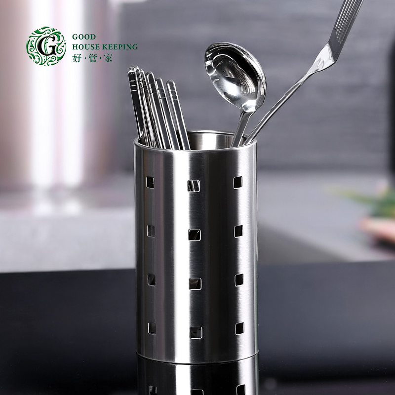好管家不鏽鋼筷子筒 家用餐具收納盒 刀叉勺瀝水籠架 廚房收納桶