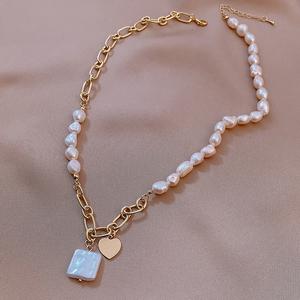 巴洛克淡水珍珠颈链拼接爱心吊坠气质链条项链女2021年新款锁骨链