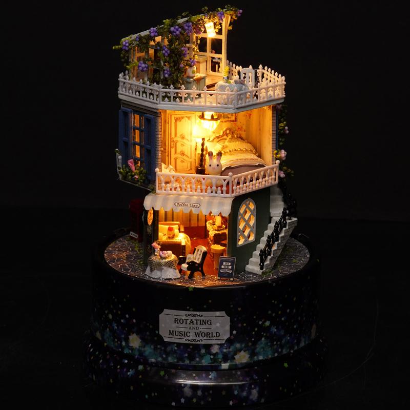 旋转音乐盒八音盒小夜灯水晶球diy闺蜜结婚创意生日礼物女生精品