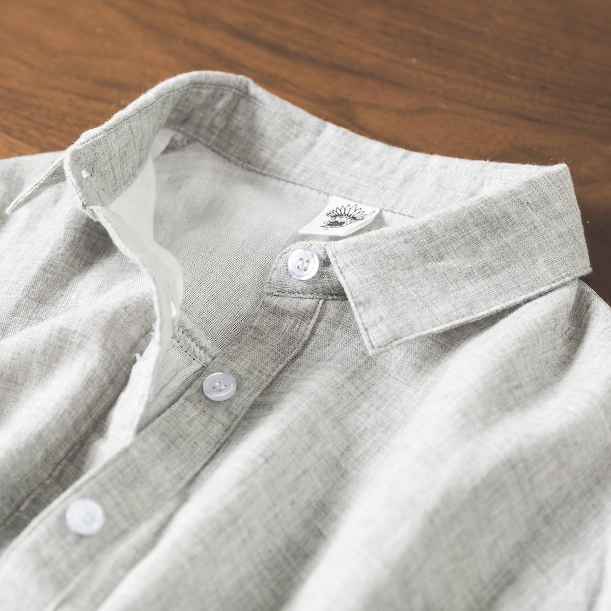 双层棉纱浅灰色衬衫女纯棉衬衣长袖翻领时尚洋气复古港味春夏上衣