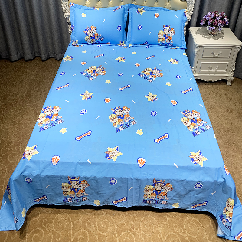 Childrens cartoon single piece pure cotton bed sheet Wangwang team princess style all cotton cute 1.2 bed pure cotton customized