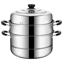 Stainless steel steamer three-layer and three-layer steamed steamed bread steamer thickened 1 2 2 layer household gas stove with induction cooker