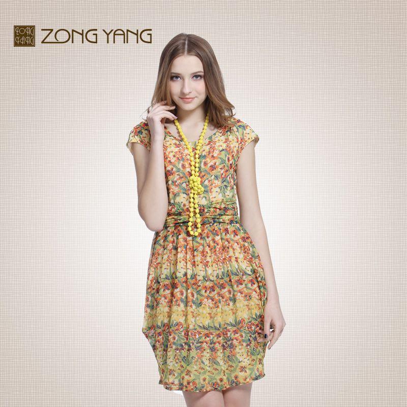 宗洋专柜女装 夏季 印花圆领短袖灯笼裙无袖中腰连衣裙短裙T143