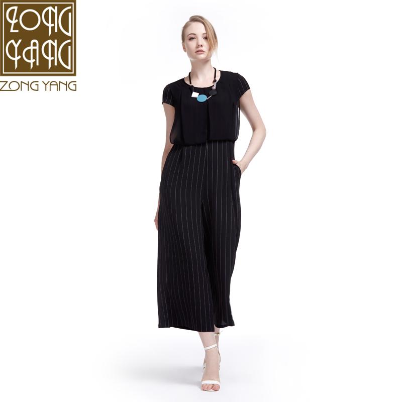 宗洋ZONGYANG专柜女装 2017夏季修身显瘦高腰阔腿连体裤K3561