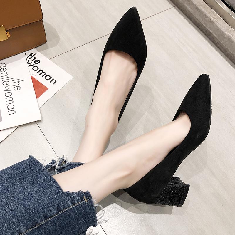 女2019潮鞋尖头粗跟性感百搭高跟鞋