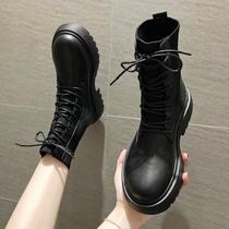 马丁靴女秋冬2019靴子新款ins网红瘦瘦靴英伦风帅气弹力袜靴短靴