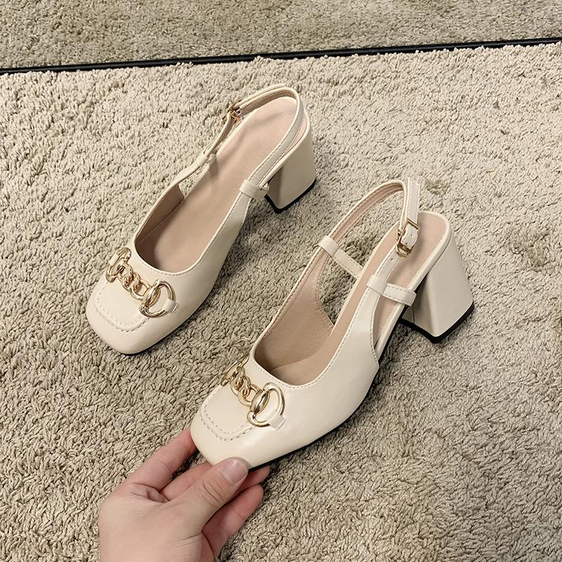 凉鞋女2021年新款时尚百搭包头韩版高跟鞋女夏浅口网红ins女鞋潮