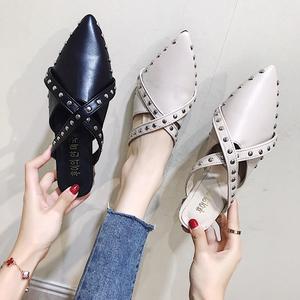 尖头拖鞋秋季时尚外穿2018秋新款包头半托鞋平底社会女鞋子穆勒鞋