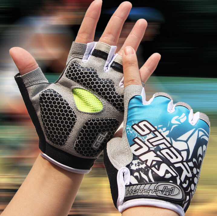 Riding Gloves Half Finger silicone shock absorption spring and summer breathable mens and womens dynamic cycling gloves short finger mountain bike equipment