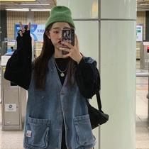 韩版2020年秋冬新款宽松外搭上衣女外穿百搭牛仔背心学生马甲外套