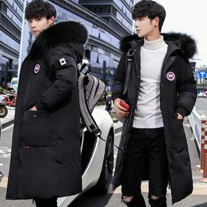 棉衣男2020冬季新款韩版修身加厚连帽棉服宽松中长款羽绒棉袄外套