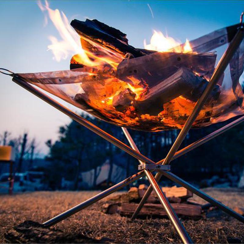 户外超轻量柴火炉不锈钢点炭炉折叠烧烤架生火炉生碳取-养殖取暖炉(招序户外专营店仅售50元)