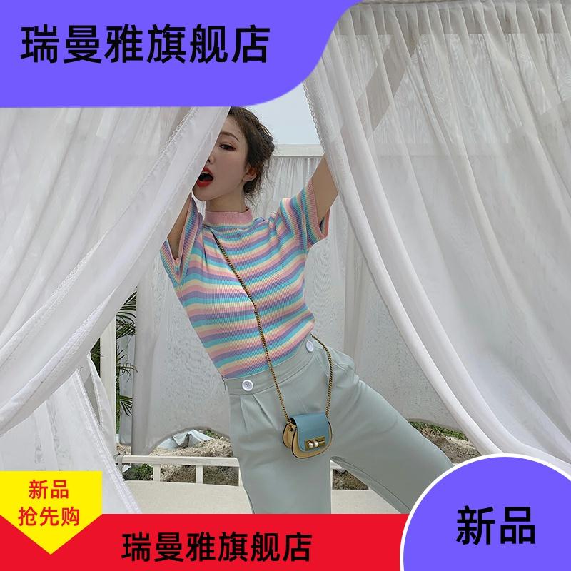 2020夏装新款韩版甜美彩虹条纹修身针织衫百搭短款T恤衫女潮