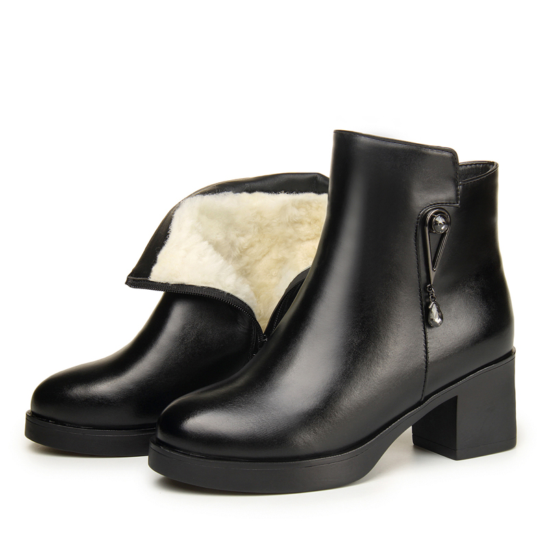 Winter womens boots full leather boots winter high heels Plush mothers shoes genuine leather cotton shoes womens boots wool leather boots