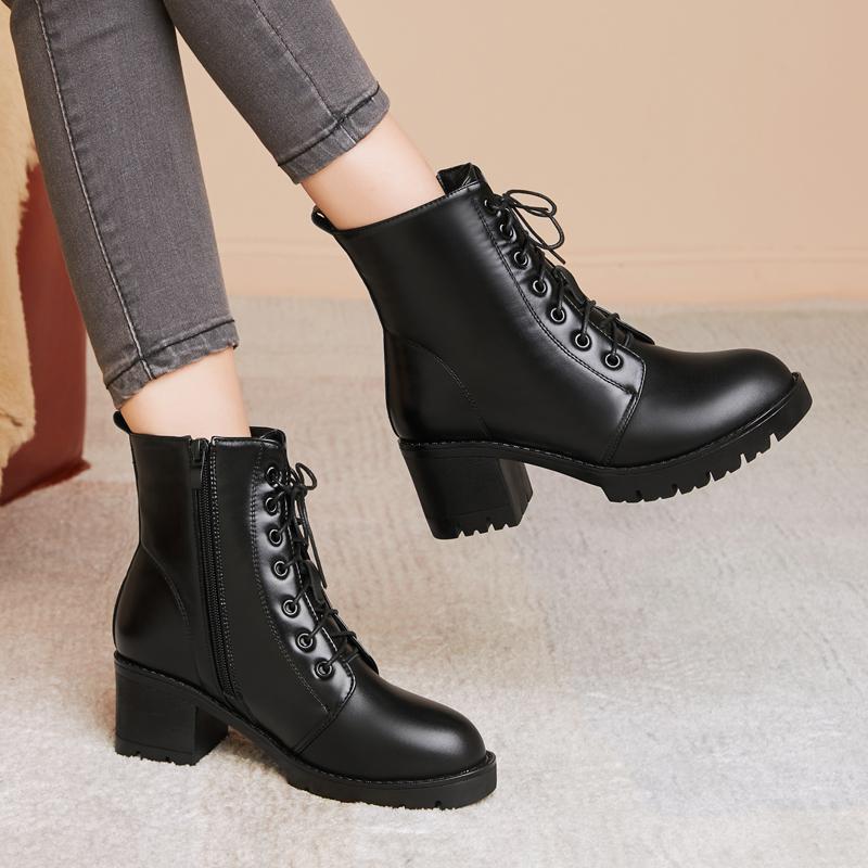 冬款真皮女靴加绒马丁靴 圆头厚底大码42粗跟短靴 英伦风高跟女鞋