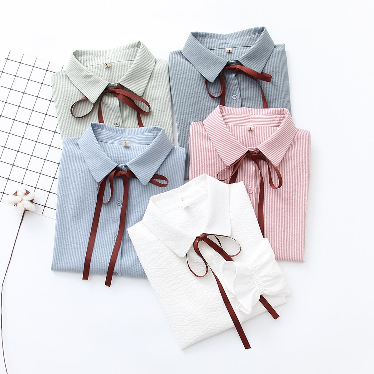 新款韩版chic风时尚格子拼色喇叭袖套头衬衫百搭显瘦上衣女潮