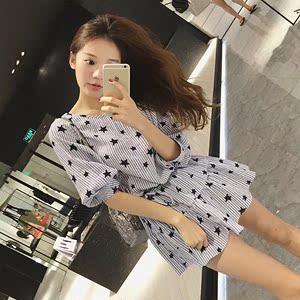 小个子女装2017新款矮150CM显高夏装小清新衬衫裙韩版连衣裙短裙