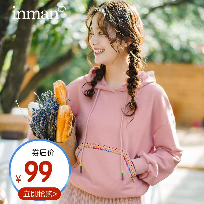 茵曼旗舰店连帽卫衣女2021新款春季长袖韩版宽松学生套头上衣外套
