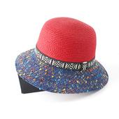 【遇优美】夏季出行女帽出游好搭撞色盆帽拼色遮阳帽优雅渔夫帽子