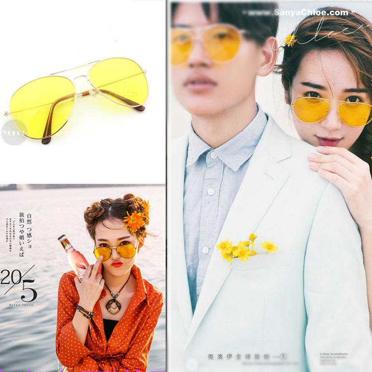 新款旅拍婚纱摄影道具眼镜透明黄色眼镜影楼个性写真外景拍摄道具
