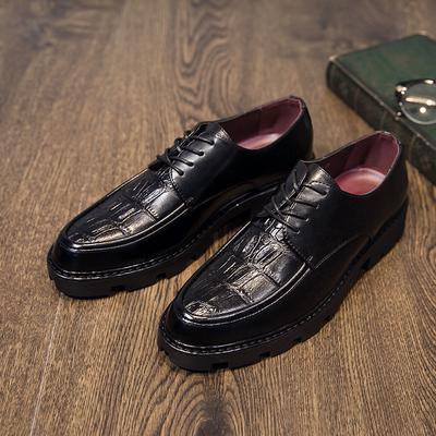 时尚新款男鞋厚底系带商务休闲鞋男鳄鱼纹压花皮鞋发型师潮鞋