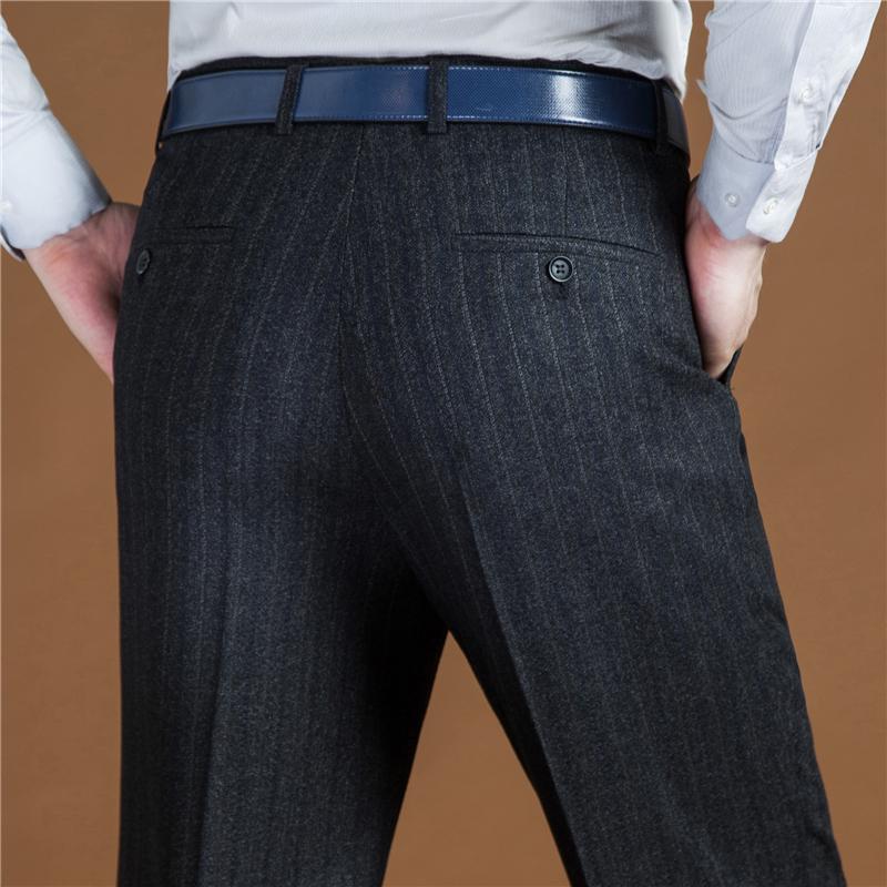 秋冬季中年男士羊毛西裤加厚款商务休闲毛呢西装裤宽松直筒裤羊绒