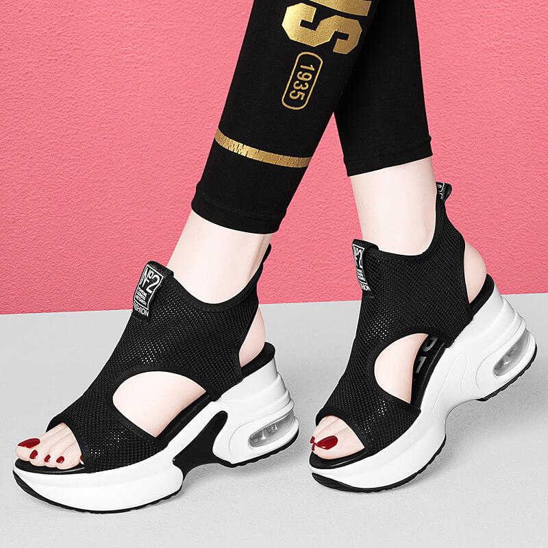 2021新款潮女鞋夏款韩版时尚鱼嘴春款真皮高跟气垫鞋女士潮流凉鞋
