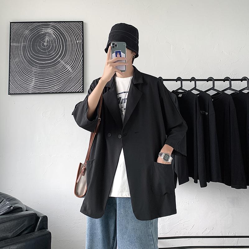 夏季薄款宽松七分袖衬衫小西装男潮西服外套 A176-9801-P48港风